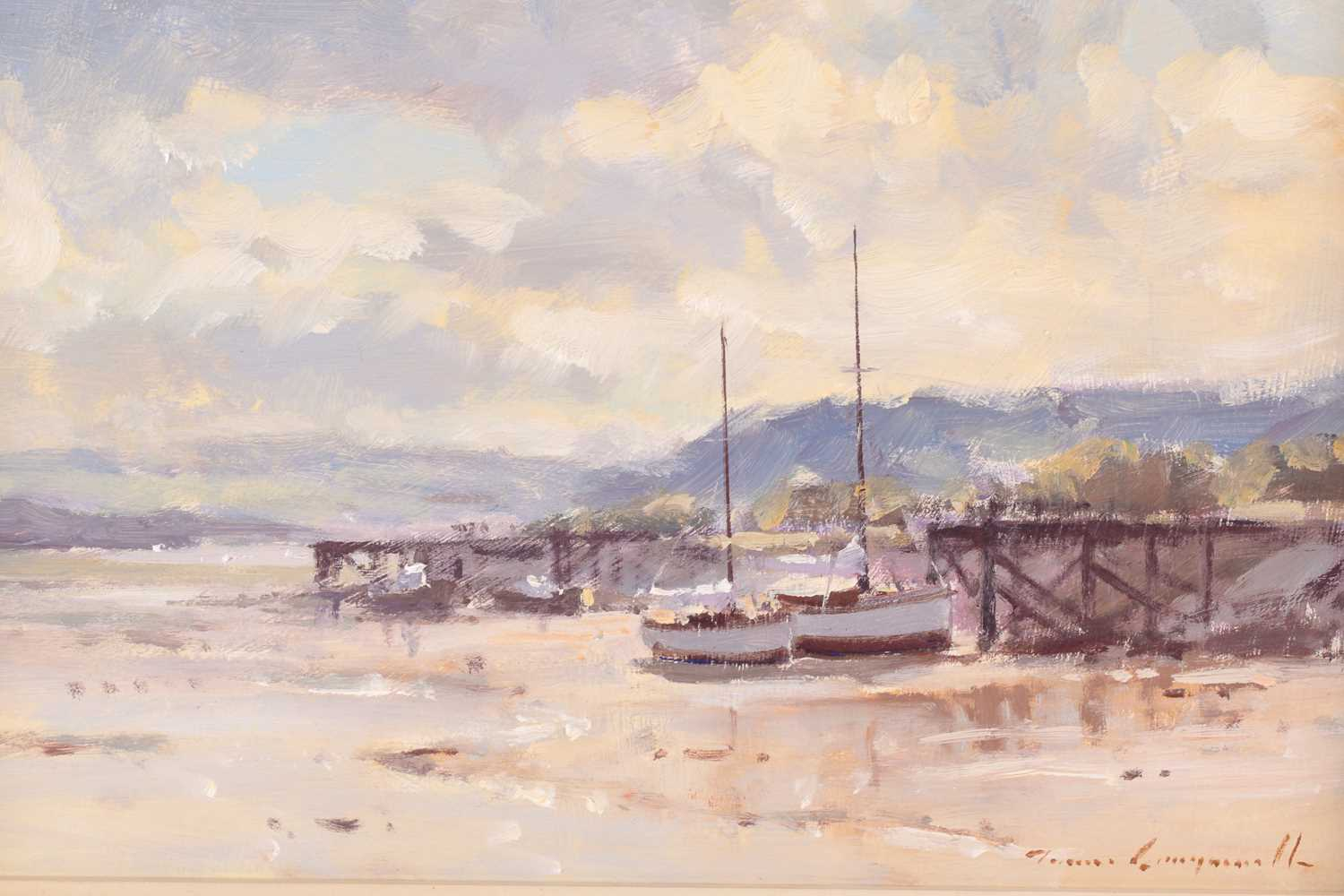 James Longueville, (B. 1942), Low tide, Deganway, North Wales, oil on canvas board, signed lower - Image 2 of 4