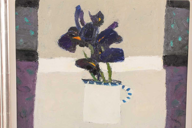 Sandy Murphy, (Scottish. B. 1956), Milk jug and Iris, oil on board, signed lower left, 38.5 cm x - Image 4 of 4