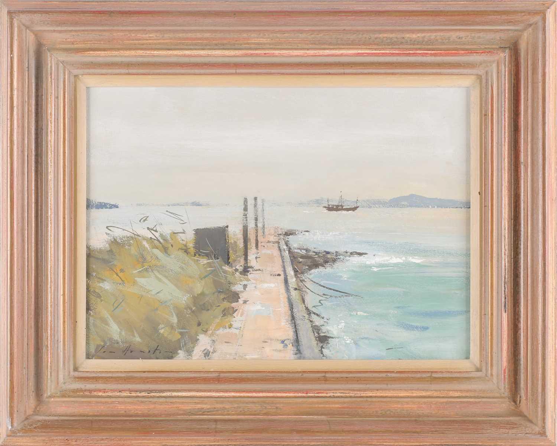Ian Houston, (1934-2021), Mist Clearing, Tai O, Hong Kong, gouache on board, signed lower left, 25.5