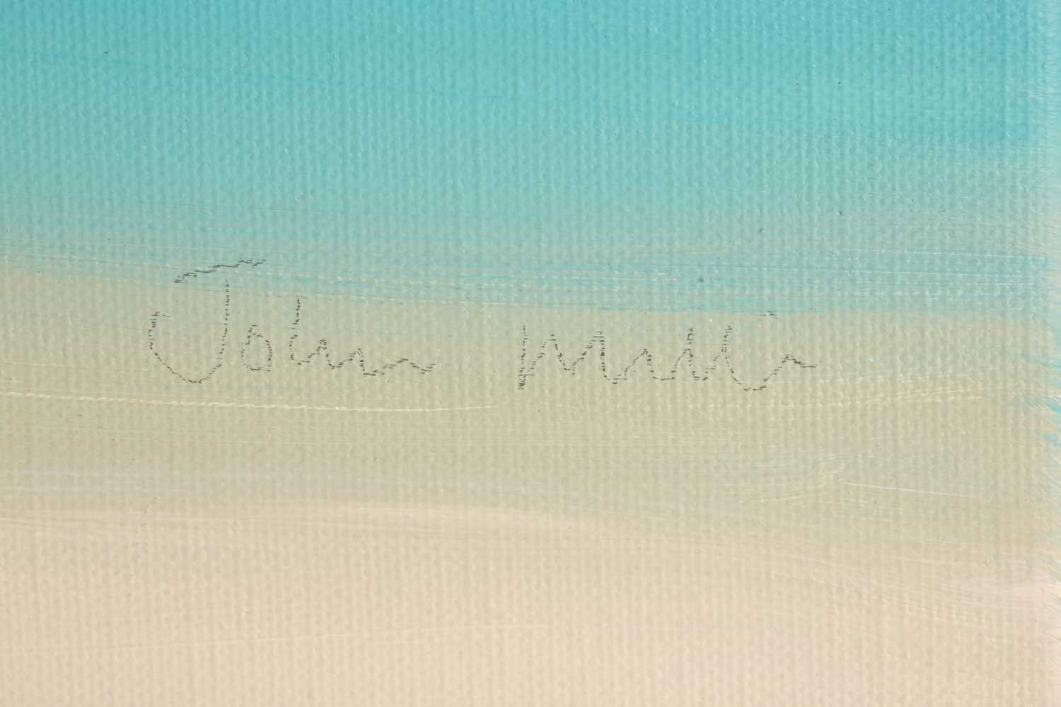 John Miller (1931-2002), Quiet Beach, oil on canvas, signed, titled and inscribed verso, 75.5cm x - Image 3 of 6