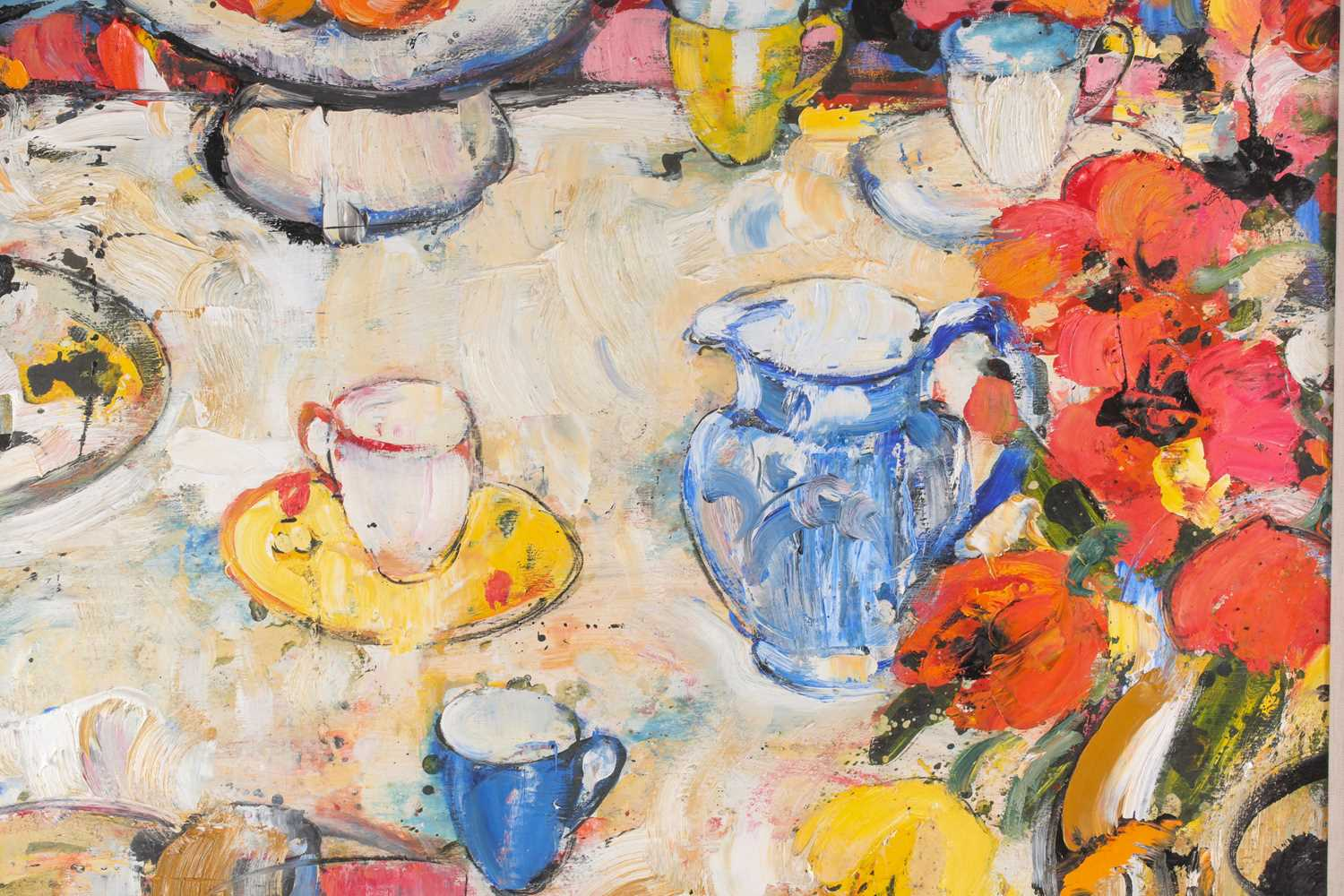 Peter Mclaren, (B. 1964), Still life with blue cup and blue jug, oil on board, signed and titled - Image 5 of 5