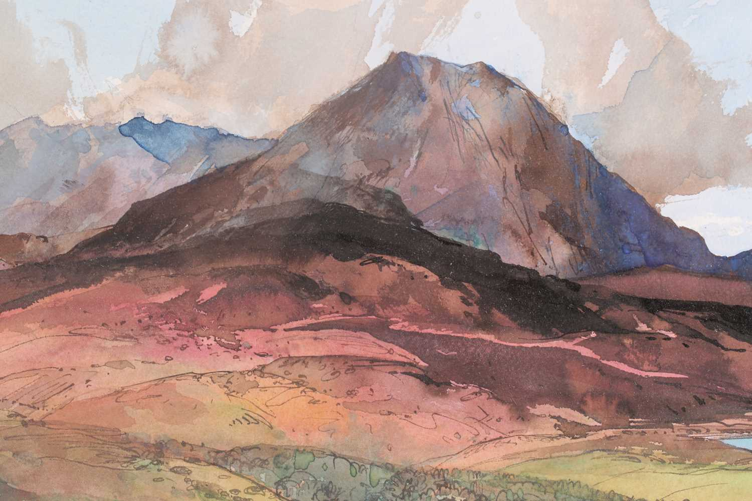 Tom Shanks, (Scottish. 1921-2020), Meall an Fhuarain Sutherland, watercolour and body colour, signed - Image 2 of 5