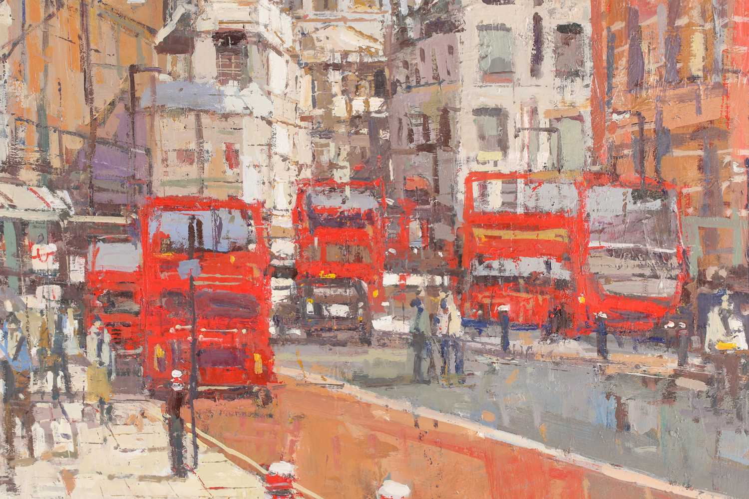 Robert Wells, London street with St Pauls in the distance, oil on canvas, signed lower right, 62 - Image 2 of 5