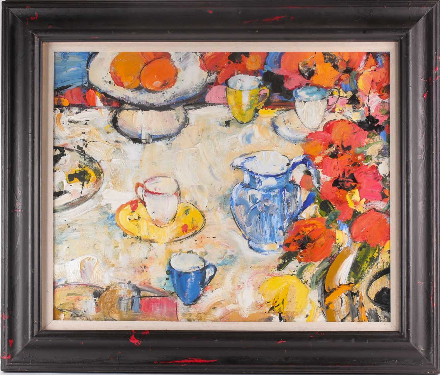 Peter Mclaren, (B. 1964), Still life with blue cup and blue jug, oil on board, signed and titled