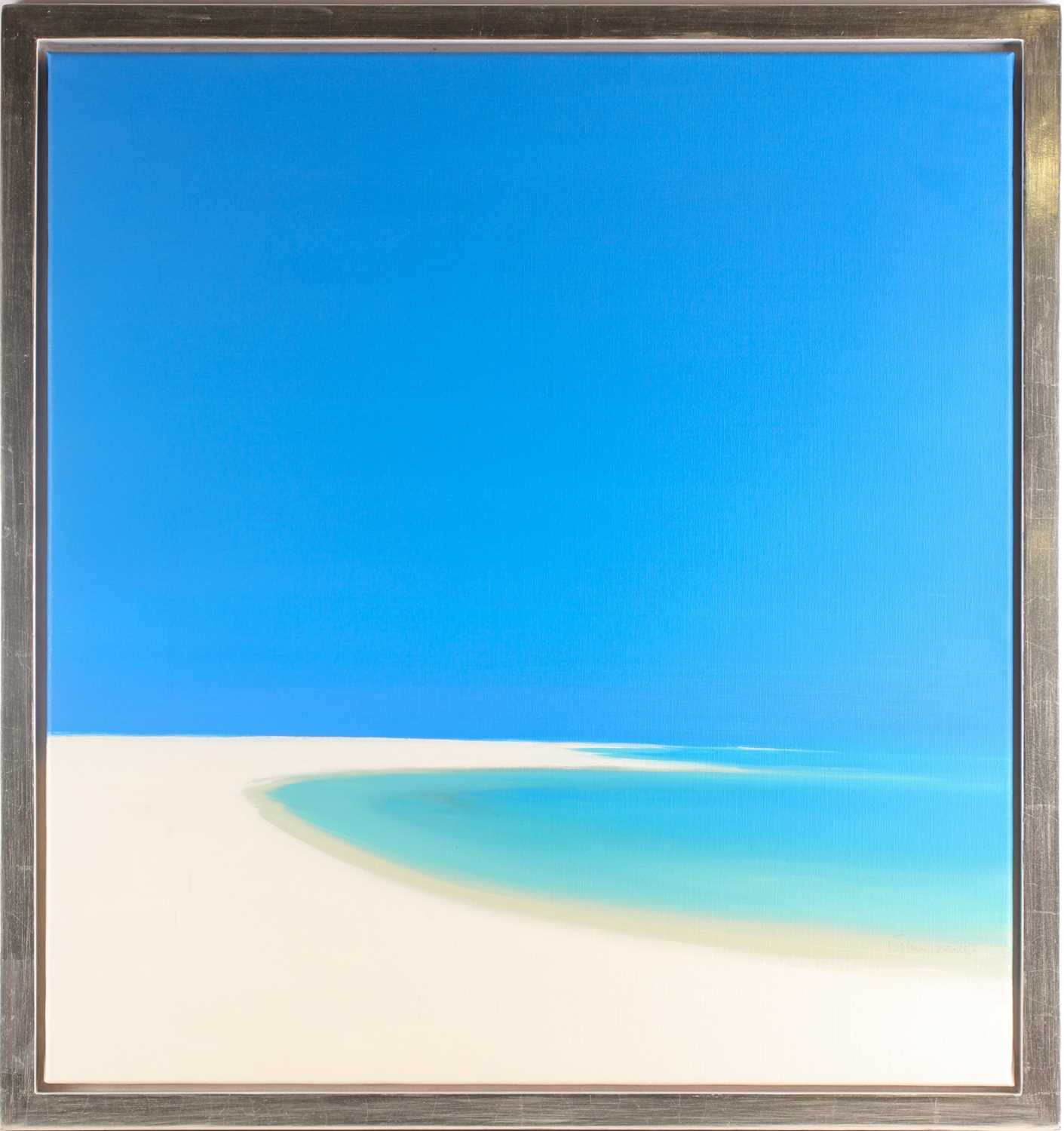 John Miller (1931-2002), Quiet Beach, oil on canvas, signed, titled and inscribed verso, 75.5cm x