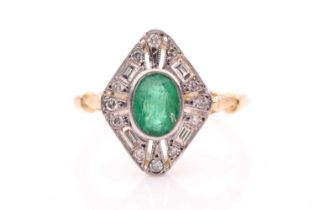 A yellow metal, diamond, and emerald ring, set with a mixed oval-cut emerald, bezel-set within an