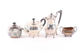 A 20th century matched three-piece silver tea set including a Sheffield 1907 sucrier, the other