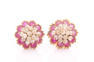 A pair of yellow metal red paste and white bead cluster earrings, screwback fititngs, 1.5 cm