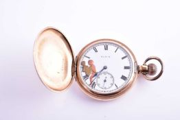 An unusual gold plated pocket watch by Elgin, with white enamel Roman numeral dial, with