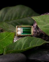 Andrew Grima. An 18ct yellow gold, tourmaline, and diamond ring, the rectangular mount set with a