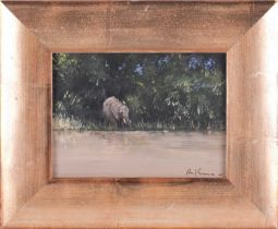 """Paul Gunn (British 1934 - ) """"Young Elephant Kapama S/A"""", oil on panel, signed and titled verso. 12.5"""