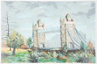 Kunle Adegborioye (b.1966) Nigerian, a view of Tower Bridge in London, oil on canvas, signed and