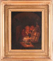 Manner of Godfried van Schalken (1643-1706), figures in a candlelit interior, oil on canvas, 32 cm x
