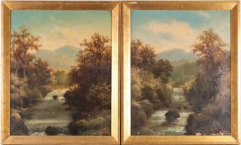 Roberto Marshall (1849-1926), two landscapes, views down a river with mountains to the background (