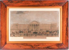 A good William IV rosewood frame, containing a coloured print, 'The New General Post Office 1849),
