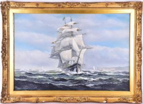 Salvatore Colacicco (b. 1935), In full sail off the coast of Dover, oil on canvas, signed lower