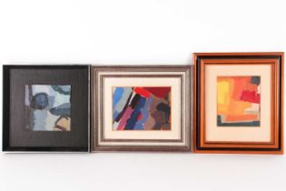 Diana Lindsay (20th century), three abstract oils on card, unsigned, the largest 13.8 cm x 18.3