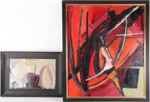 Diana Lindsay (20th century), two abstract oils on board, the largest 75 cm x 91 cm, each framed.