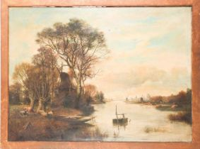 19th century school, a watery landscape with windmills on a riverbank, large oil on canvas,