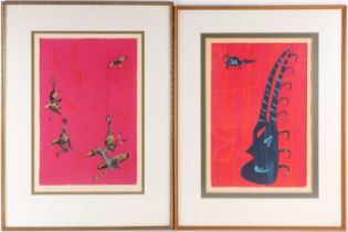 John West, 20th century, two of 1969 limited edition serigraph prints, titled 'African Dancers'