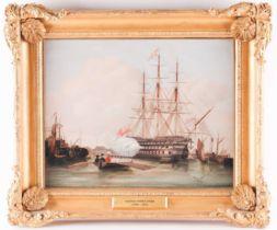 Manner of Thomas Whitcombe (c.1763-1824), a maritime scene, sailors leaving a battleship, oil on