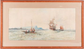 A Clifford, British late 19th/ early 20th century, Sailing off the coast, possibly West Bay, Dorset,