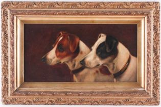 Walter Herbert Wheeler (1878-1960), profile study of a pair of Jack Russell dogs, oil on panel,