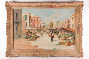 20th century Continental school, a market scene in a rural landscape, large oil on canvas,