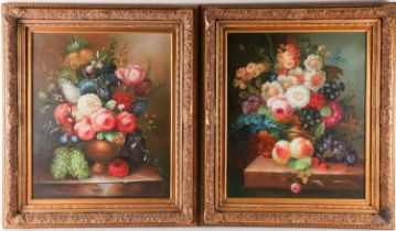 Learnest (20th-century school), a Dutch-style still life study of flowers in a vase, oil on