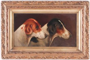 Walter Herbert Wheeler (1878-1960), profile study of a pair of hounds, oil on panel, signed and