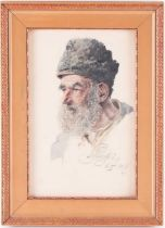 Karl Schnorpfeil (1875-1937) Austrian, a head and shoulders portrait of an elderly man, pen and