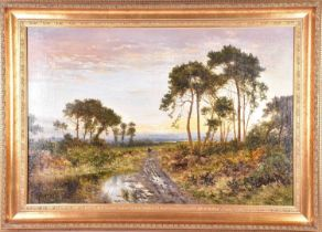 Daniel Sherrin (1868-1940) British, 'Eventide', (titled verso), a pastoral landscape, oil on canvas,