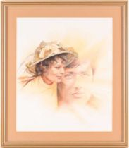 Chris Collingwood (20th century), a double portrait of a man and a woman, watercolour and