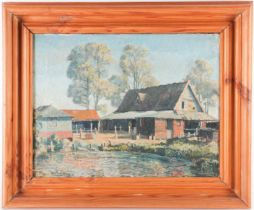 Cavendish Morton (1911-2015), Suffolk Farmyard, oil on canvas, signed lower left, 35 cm x 47 cm,