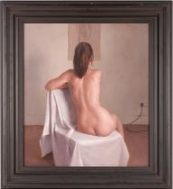 Harry Holland (b.1941) British, study of a female nude, before a drawing on the wall, c.1995, oil on
