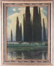 Ferdinand Engelmuller (1867-1924), Continental landscape, moonlit cypress trees behind a lake, oil