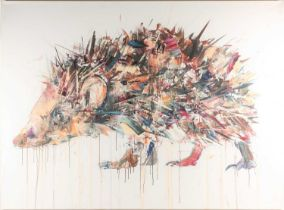 Dave White (B.1971), oil on linen, signed and dated 2014 verso, 115.5 cm x 155.5 cm, unframed.
