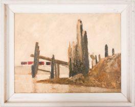 Gerald Parkinson (b.1926), 'Piles - Newhaven', abstract coastal landscape, oil on panel, 45 cm x