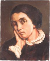 After Gustave Courbet (1819-1877), Portrait of Zelie Courbet, oil on paper laid onto board, 27.4