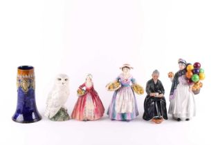 """A small collection of Royal Doulton figures including """"Cup of Tea"""" HN2322, """"Daffy Down Dilly"""" HN1713"""