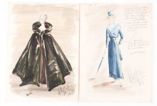 Michael Whittaker (20th century), two theatre costume designs, pen and watercolour, one with