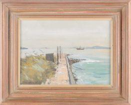 † Ian Houston, (1934-2021), Mist Clearing, Tai O, Hong Kong, gouache on board, signed lower left,