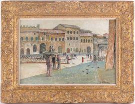 † James McIntosh Patrick, OBE, RSA,(Scottish. 1907-1999), The Piazza Iassisi, oil on canvas board,