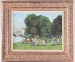 † William Henry Innes (1905-1999), a group of people seated in deckchairs, beside a river on a