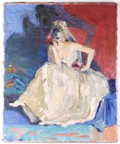 Phidias (20th century), study of a seated woman in a bridal outfit, unframed impasto oil on