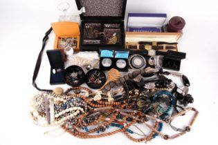 A group lot of costume jewellery, to include various silver and white metal cufflinks, beaded