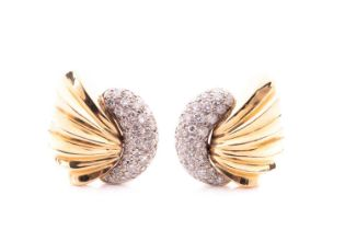 A pair of 14ct yellow gold and diamond shell-shaped earrings, total diamond weight approximately 1.0