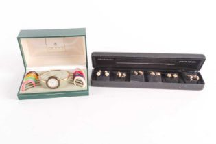A Gucci lady's gold plated watch with quartz movement in original box with ten interchangeable