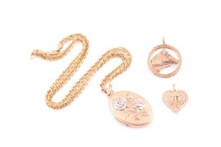 A two colour 9 carat gold oval locket; with applied rose motif; to a fancy double cable link