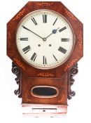 A Victorian inlaid walnut wall clock, with eight day movement, chiming on a gong, the case with oval